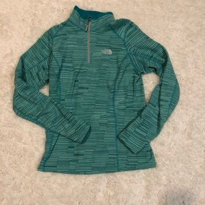 The North Face teal pattern half-zip